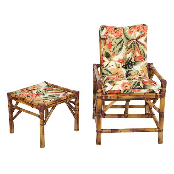Cadeira de Bambu 1 Lugar com Almofada Flores Laranja