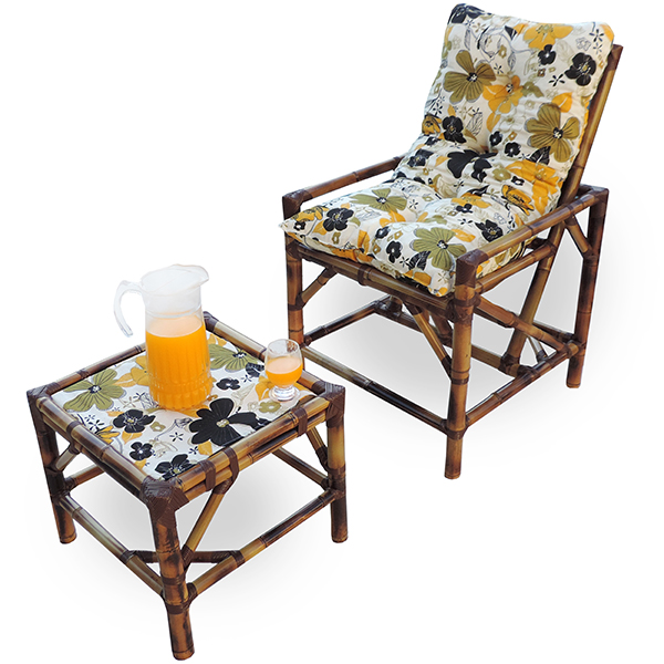 Cadeira de Bambu 1 Lugar com Almofada Flores Preta