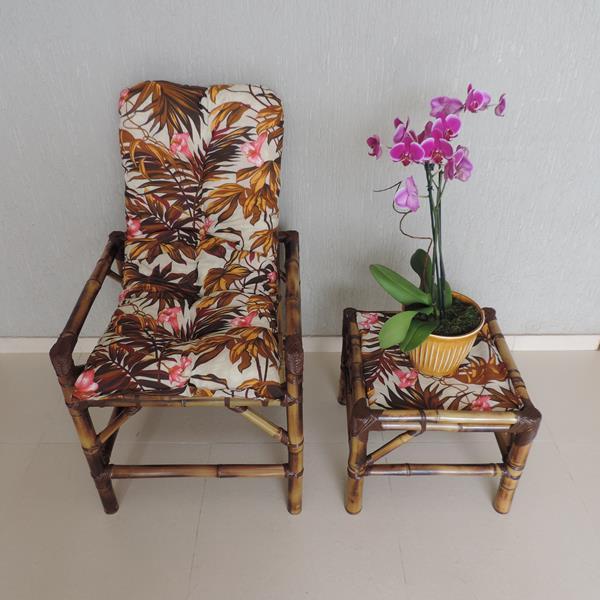Cadeira de Bambu 1 Lugar com Almofada Folhagem Outono