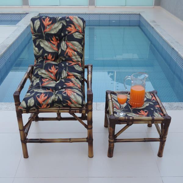 Cadeira de Bambu 1 Lugar com Almofada Helicônia