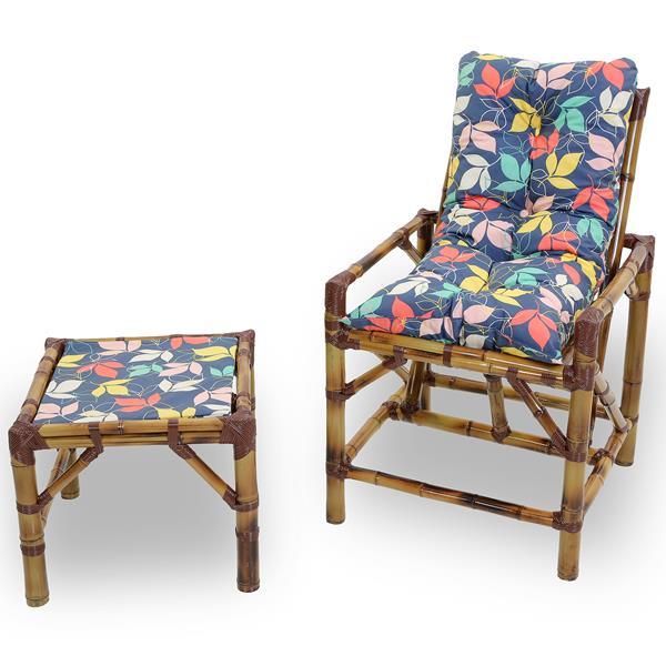 Cadeira de Bambu 1 Lugar com Almofada Impermeável Barça
