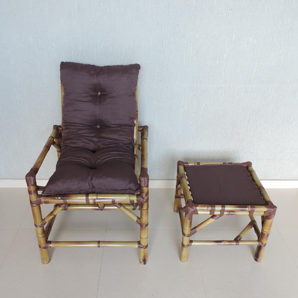 Cadeira de Bambu 1 Lugar com Almofada Marrom