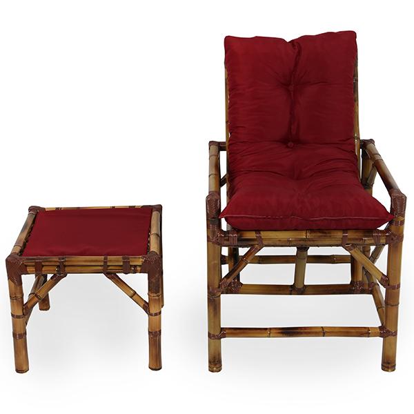 Cadeira de Bambu 1 Lugar com Almofada Marsala