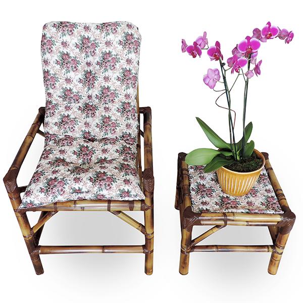 Cadeira de Bambu 1 Lugar com Almofada Mini Rosa