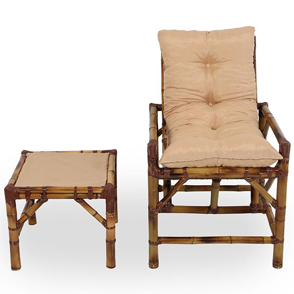 Cadeira de Bambu 1 Lugar com Almofada Nude