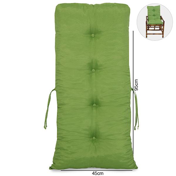 Cadeira de Bambu 1 Lugar com Almofada Verde