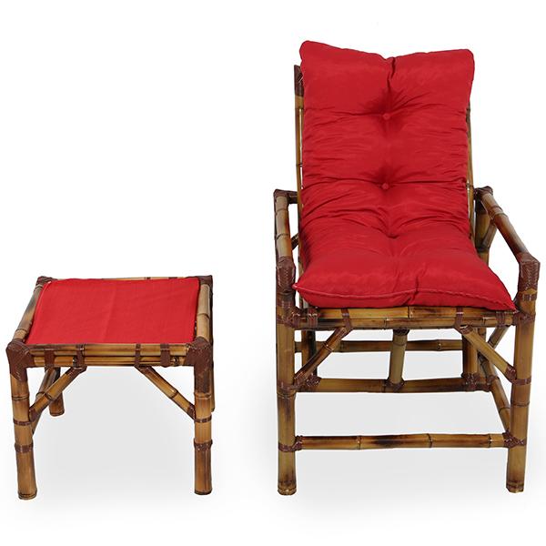 Cadeira de Bambu 1 Lugar com Almofada Vermelha