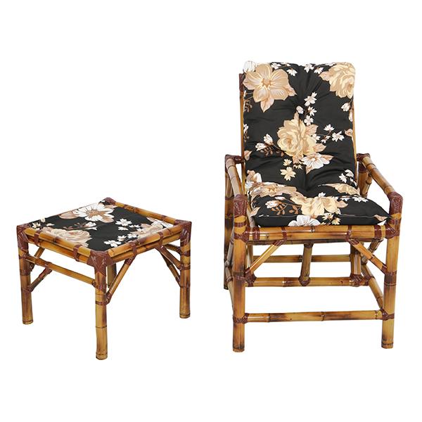 Cadeira de Bambu 1 Lugar com Almofada Zenaide Preto