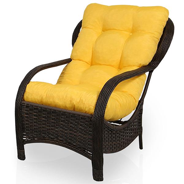 Cadeira de Fibra Com Almofada Amarela