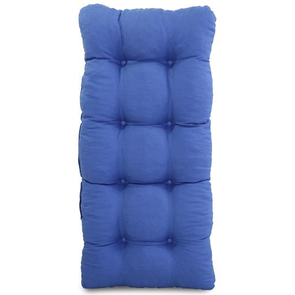 Cadeira de Fibra Com Almofada Azul