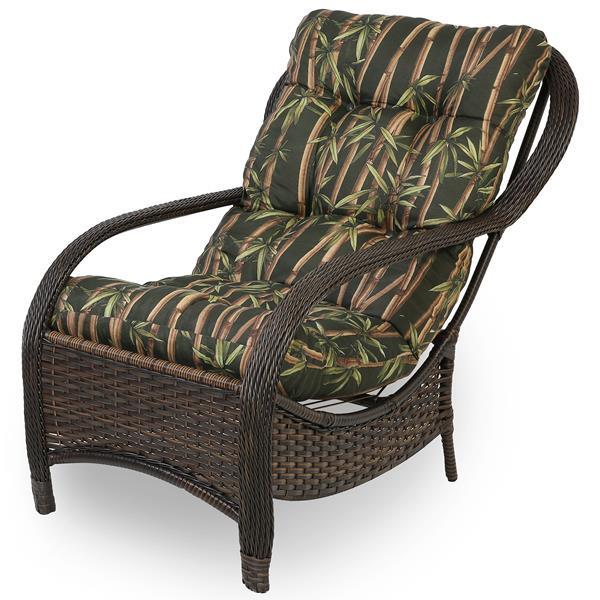 Cadeira de Fibra Com Almofada Bambu Escuro