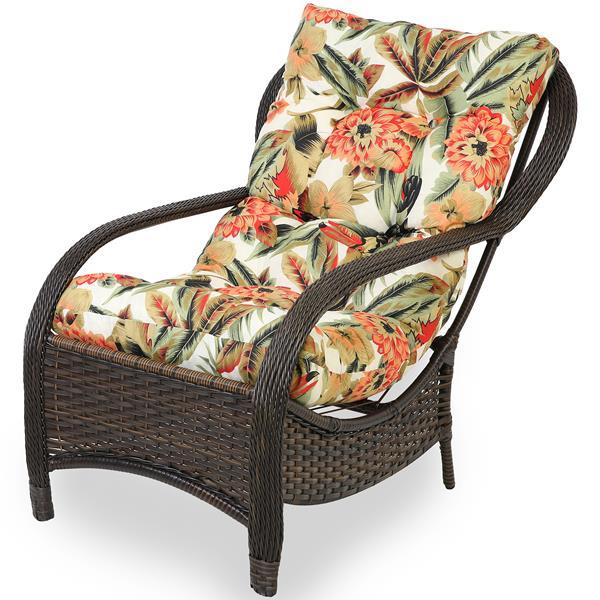 Cadeira de Fibra Com Almofada Flores Laranja