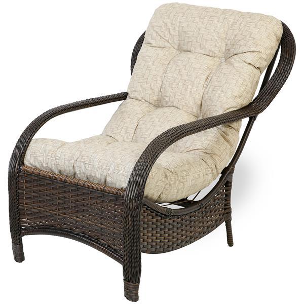Cadeira de Fibra Com Almofada Impermeável Bege