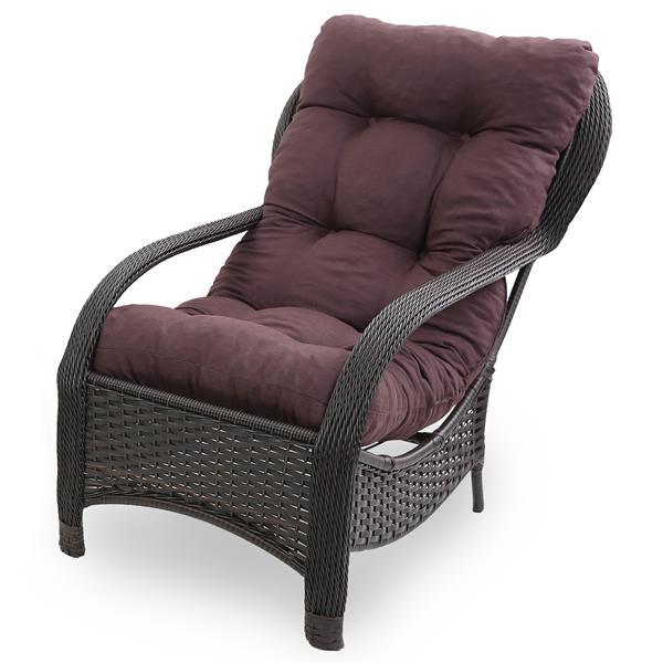 Cadeira de Fibra Com Almofada Marrom