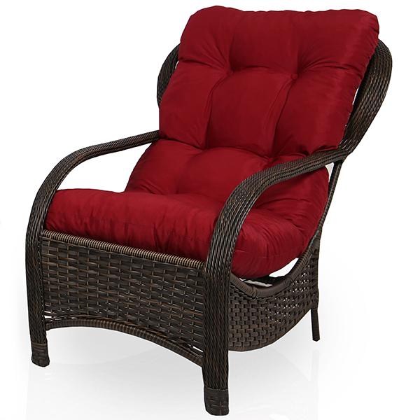 Cadeira de Fibra Com Almofada Marsala