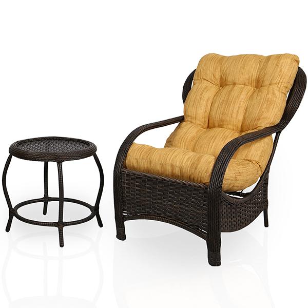 Cadeira de Fibra com Mesa e Almofada Amarelo Mesclado