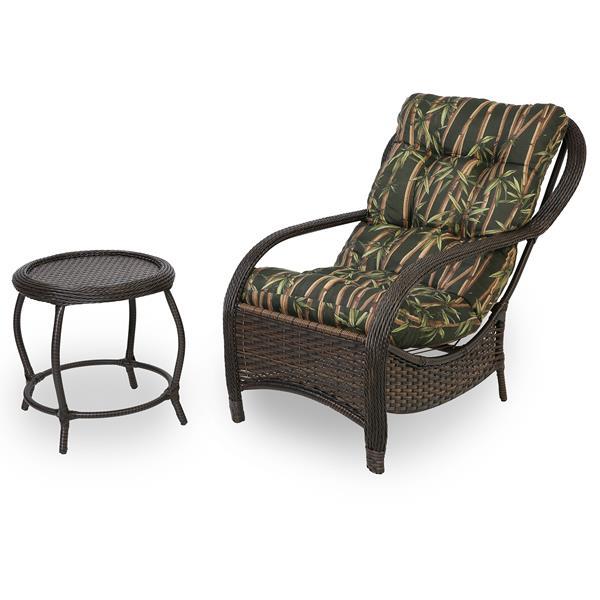 Cadeira de Fibra com Mesa e Almofada Bambu Escuro