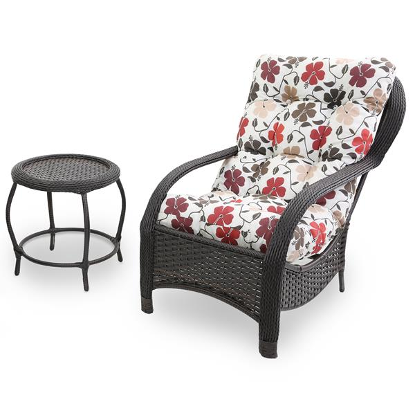 Cadeira de Fibra com Mesa e Almofada Flores Hibiscos
