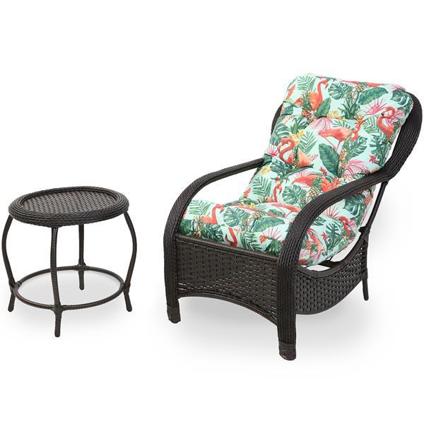 Cadeira de Fibra com Mesa e Almofada Impermeável Aruba