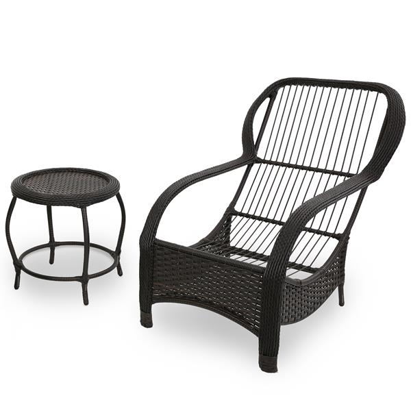 Cadeira de Fibra com Mesa e Almofada Impermeável Barça