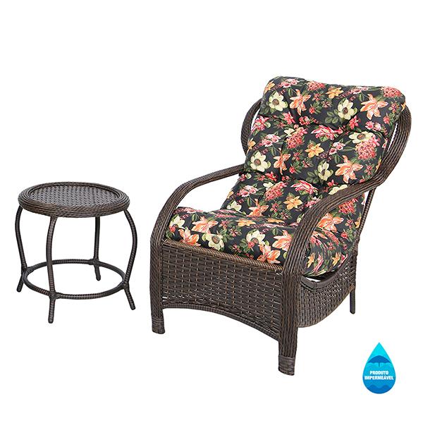 Cadeira de Fibra com Mesa e Almofada Impermeável Havana