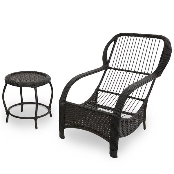 Cadeira de Fibra com Mesa e Almofada Marrom