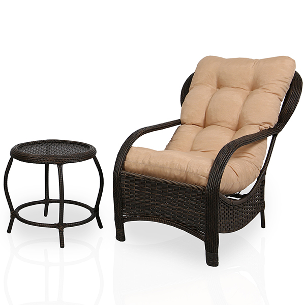 Cadeira de Fibra com Mesa e Almofada Nude