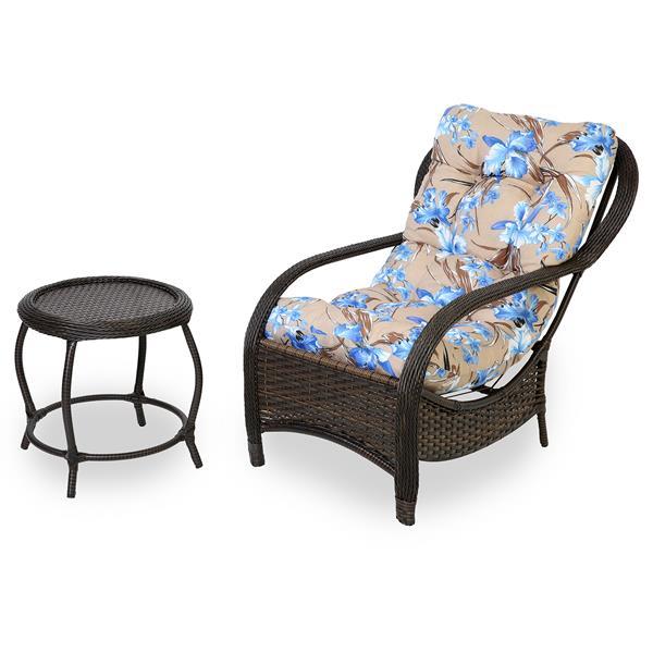 Cadeira de Fibra com Mesa e Almofada Orquídea Azul