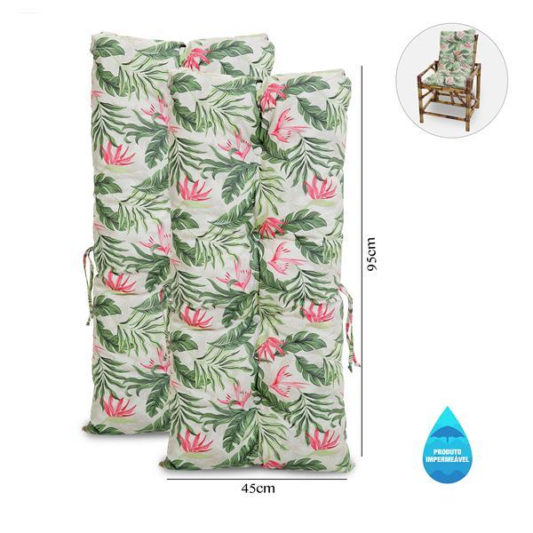 Kit 2 Almofadas Impermeáveis P/ Cadeiras de Bambu/Vime Flor
