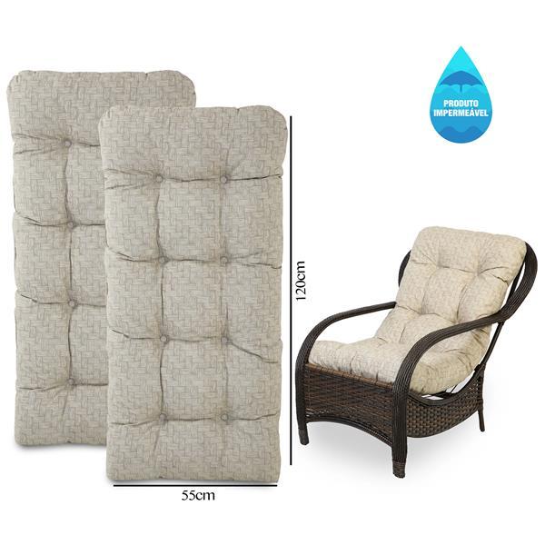 Kit 2 Almofadas Impermeáveis Para Cadeiras de Fibra Bege