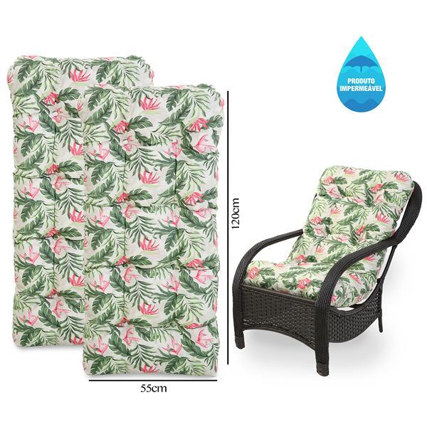 Kit 2 Almofadas Impermeáveis Para Cadeiras de Fibra Flor