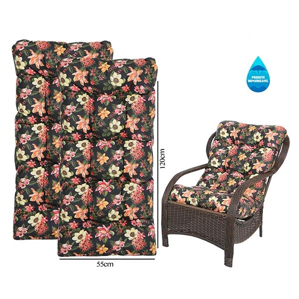 Kit 2 Almofadas Impermeáveis Para Cadeiras de Fibra Havana