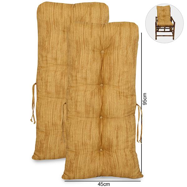 Kit 2 Almofadas P/ Cadeiras de Bambu e Vime Amarelo Mesclado