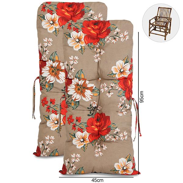 Kit 2 Almofadas P/ Cadeiras de Bambu e Vime Zenaide Vermelho