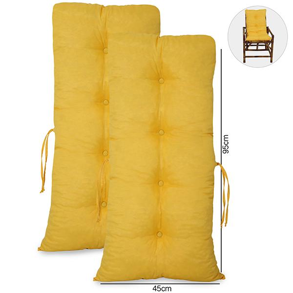 Kit 2 Almofadas Para Cadeiras de Bambu e Vime Amarela