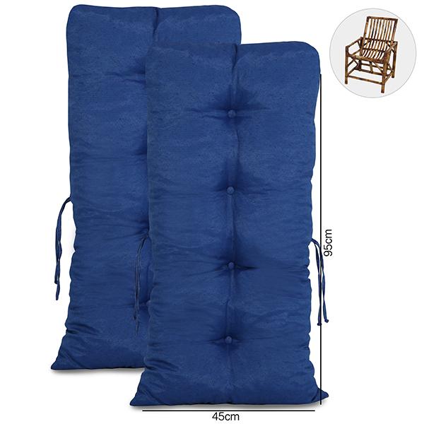 Kit 2 Almofadas Para Cadeiras de Bambu e Vime Azul