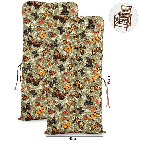 Kit 2 Almofadas Para Cadeiras de Bambu e Vime Borboletas