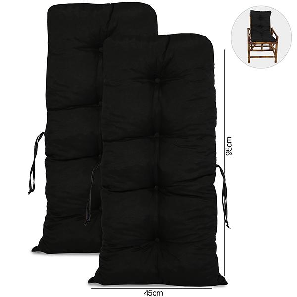 Kit 2 Almofadas Para Cadeiras de Bambu e Vime Preta