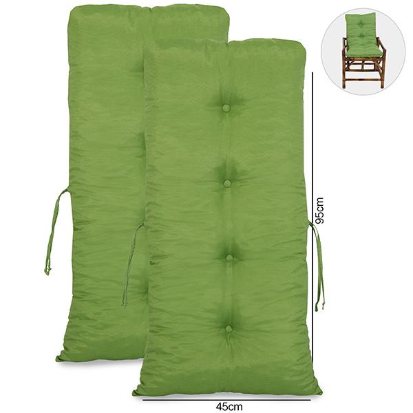 Kit 2 Almofadas Para Cadeiras de Bambu e Vime Verde
