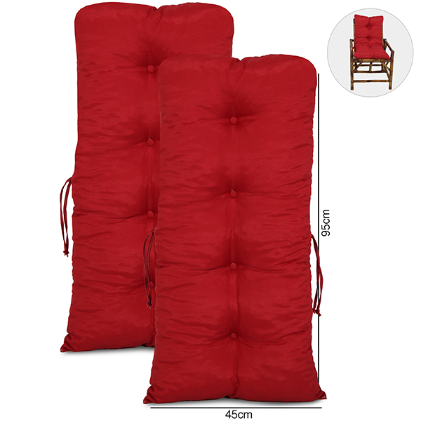 Kit 2 Almofadas Para Cadeiras de Bambu e Vime Vermelha