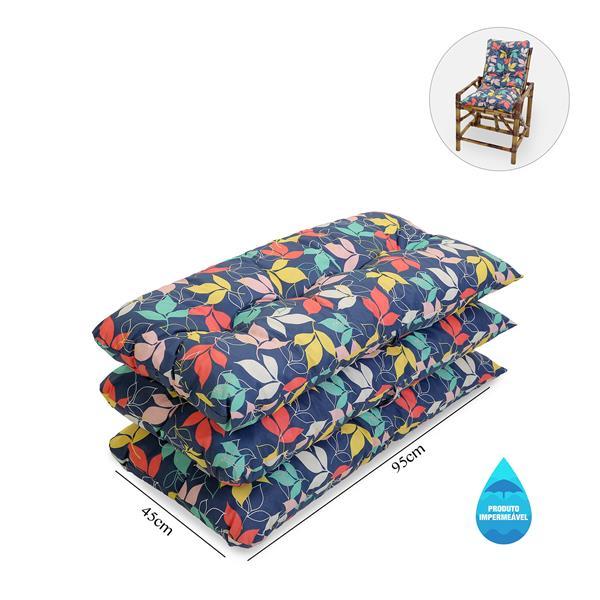 Kit 3 Almofadas Impermeáveis P/ Cadeiras de Bambu/Vime Barça