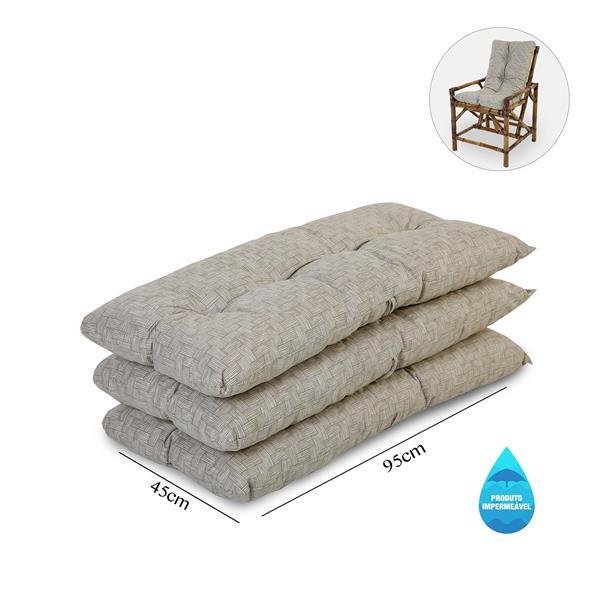 Kit 3 Almofadas Impermeáveis P/ Cadeiras de Bambu/Vime Bege