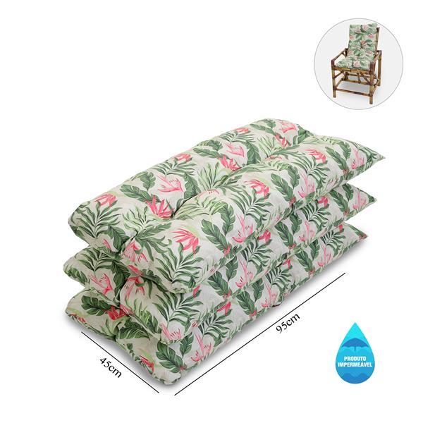 Kit 3 Almofadas Impermeáveis P/ Cadeiras de Bambu/Vime Flor