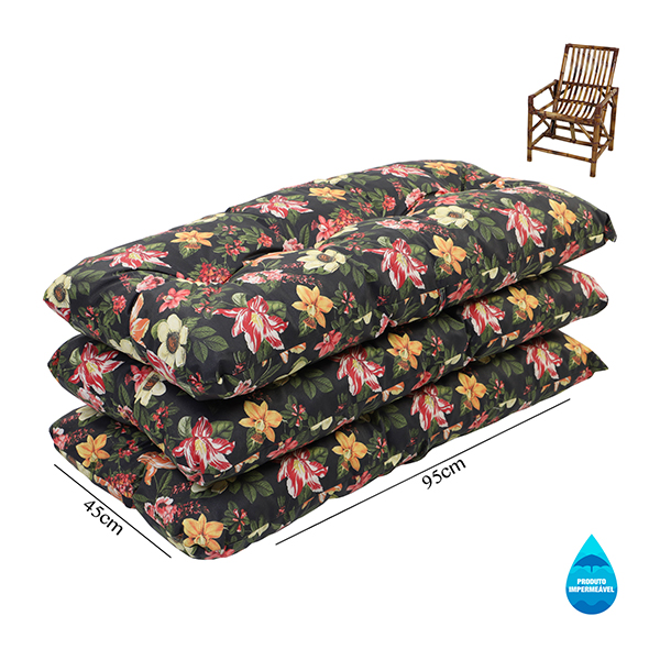 Kit 3 Almofadas Impermeáveis P/ Cadeiras de Bambu/Vime Havana