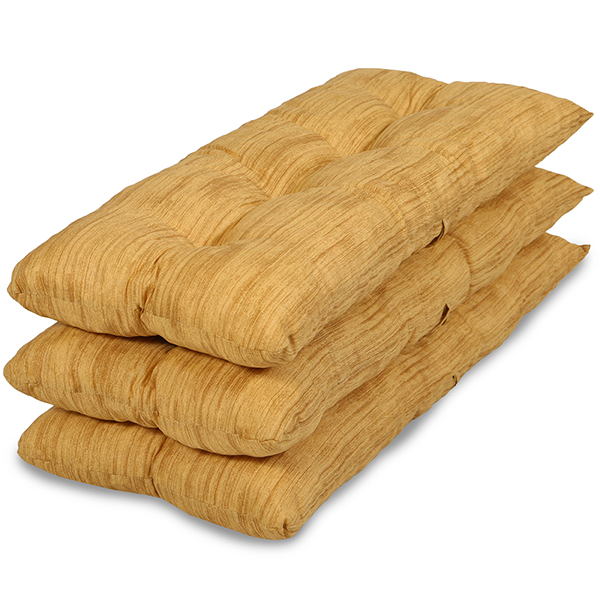 Kit 3 Almofadas P/ Cadeiras de Bambu e Vime Amarelo Mesclado