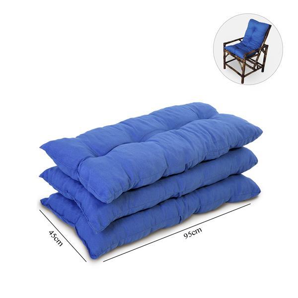 Kit 3 Almofadas Para Cadeiras de Bambu e Vime Azul