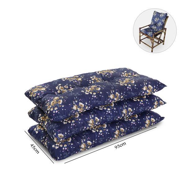 Kit 3 Almofadas Para Cadeiras de Bambu e Vime Azul Florida