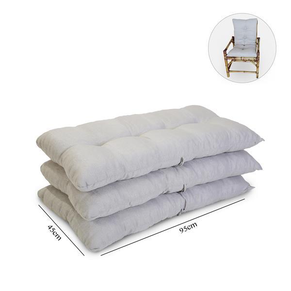 Kit 3 Almofadas Para Cadeiras de Bambu e Vime Cinza