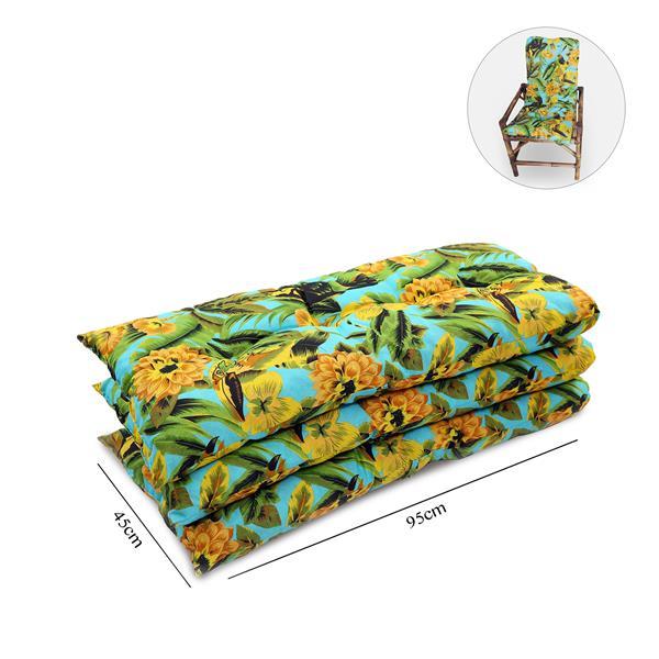 Kit 3 Almofadas Para Cadeiras de Bambu e Vime Flor Amarela
