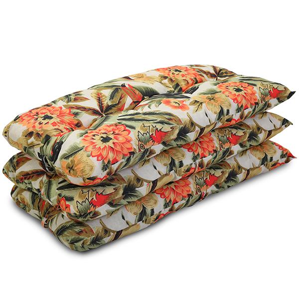 Kit 3 Almofadas Para Cadeiras de Bambu e Vime Flores Laranja